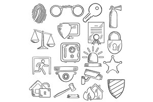 Security sketch icons