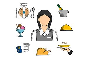 Waitress and restaurant color icons