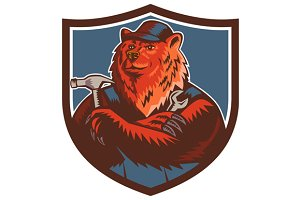 Russian Bear Builder Handyman Crest