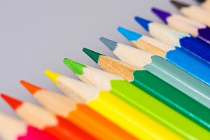 Brightly colored wooden pencils
