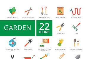 Garden flat icons set