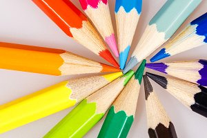 Pencils closeup shot background