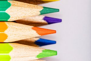 Brightly colored pencils closeup