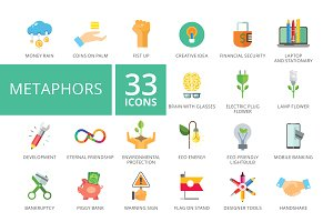 Metaphors flat icons set
