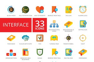 Interface flat icons set
