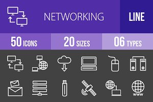 50 Networking Line Inverted Icons