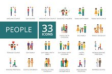 People flat icons set