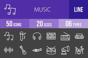 50 Music Line Inverted Icons