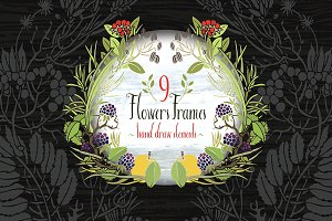9 Flowers Frames Hand drawn elements
