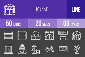 50 Home Line Inverted Icons