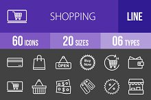 60 Shopping Line Inverted Icons