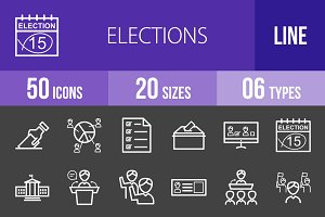 50 Elections Line Inverted Icons