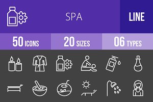 50 Spa Line Inverted Icons