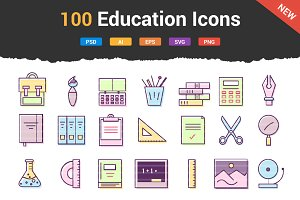 100 Education & School Icons