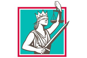 Lady Justice Raising Scales Sword