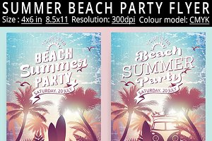 Summer Beach Party Vintage Flyer