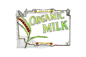 Wheat Organic Milk Label Retro