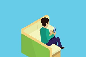 Isometric Man Sitting on Couch