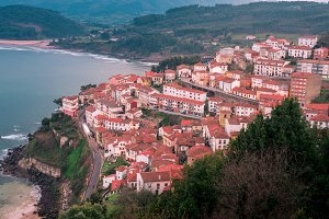 View of the city of Lastres,Spain