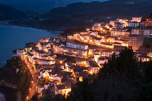 View of the city of Lastres at night