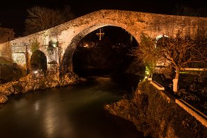 Famous Roman bridge in Cangas