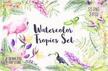 Watercolor Tropical Plants 30 % OFF