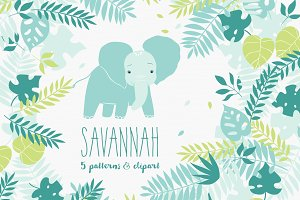 """Savannah"" 5 patterns & clip art"