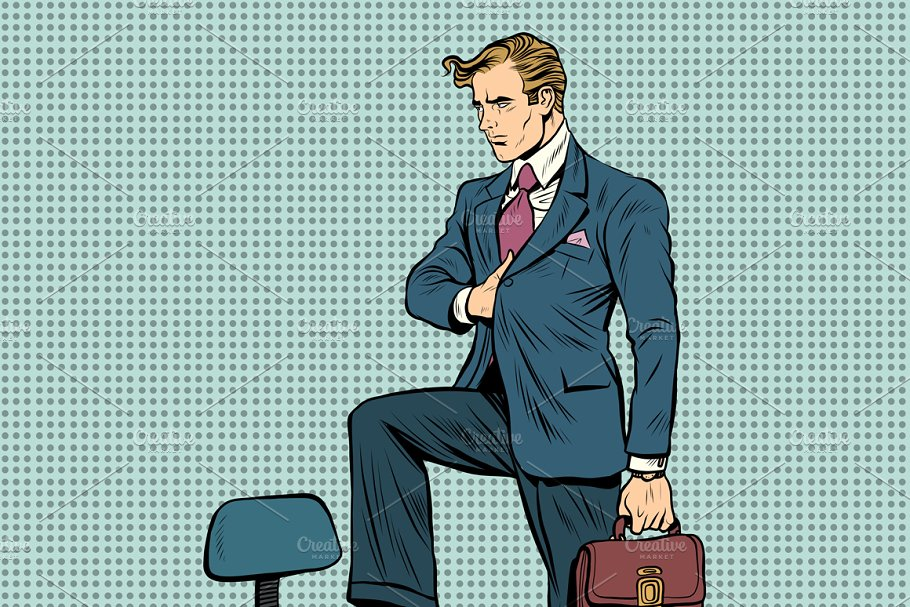 businessman in the pose of Napoleon in Illustrations - product preview 8