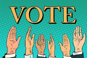 Voting hand picks up