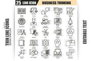 Thin Line Business Thinking Icons