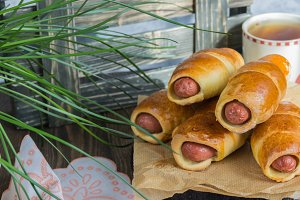 Homemade sausages in dough