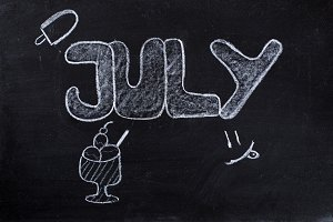 July handwritten on Blackboard