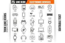Thin Line Electronics Devices Icons