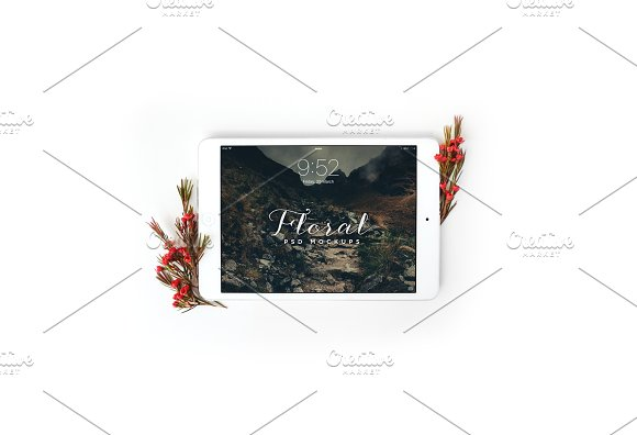 Download Floral iPad Mini Mockup - Landscape