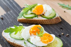 Cucumber and egg toast