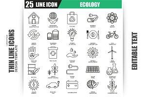 Thin Line Ecology Icons