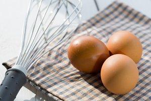 Fresh eggs in the kitchen