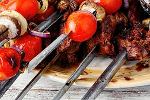 Kebab cooked on skewers