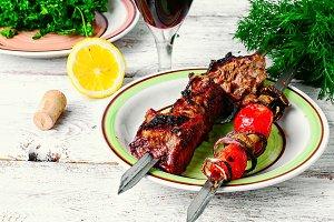 Kebab cooked on skewers