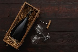 Bottle, glasses, corkscrew