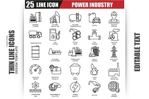 Thin Line Power Industry Icons