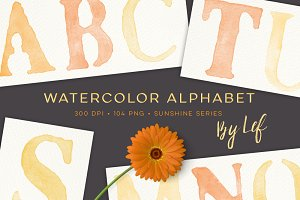 Watercolor Letters Alphabet Graphics