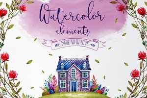 Watercolor cute elements