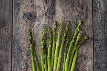 Asparagus on a rustic wood