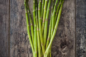 Asparagus on a rustic wood