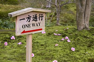 One way warning sign
