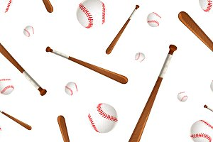 Baseball bats and balls on white