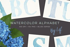 Blue Watercolor Alphabet Graphics