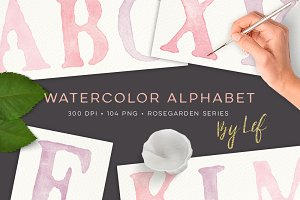 Watercolor Alphabet Clipart Graphics
