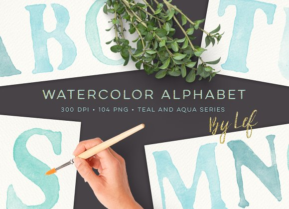 Watercolor Alphabet Graphics Clipart in Objects